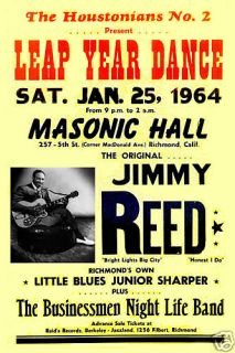Blues Jimmy Reed at Masonic Hall Concert Poster 1964