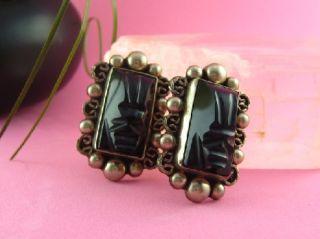Vtg Mexican 925 Sterling Onyx Earrings Carved Screw Backs Rectangular