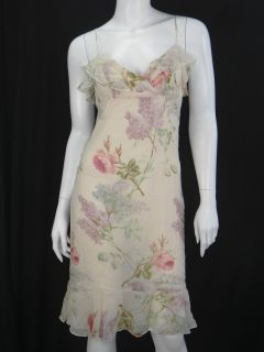 Jill Stuart Silk Floral Ruffle Dress Size 4