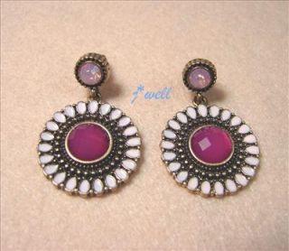 Premier Jewelry Red Sunflower Crystal Dangled Vintage Stud Earrings