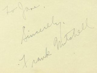 Frank Mitchell Vintage 1930s Original Signed Album Page Autographed