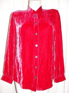BFS12~J. JILL Size M/Medium Radiant Red Velvet Tunic Long Sleeve Shirt