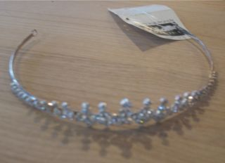 JL Johnson Silver Rhinestone Bridal Wedding Tiara