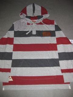 Striped Hoodie Grey Red Rocawear Sweater Mens LS Longsleeve Hooded