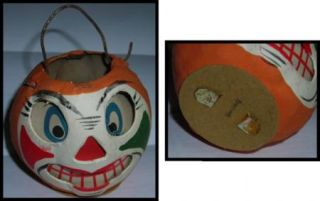 Vintage Halloween Clown Face Jack O Lantern 1940s German Pumpkin JOL