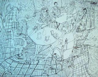 Pen and Ink Drawing Cafe Street Scene Signed Jiri Slitr, Czech Artist