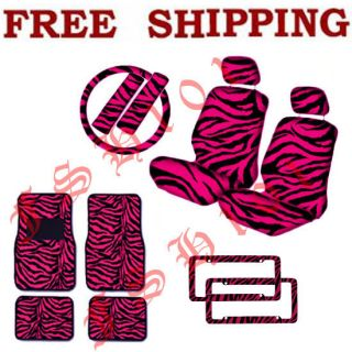 New Set of Hot Pink Zebra Print Car Seat Covers Floor Mats License