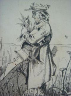Original C. Roth 1877 Sketch Drawing Portrait Insect Collector / Bug