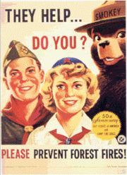 Smokey Bear with members of the Boy Scouts of America and the Camp