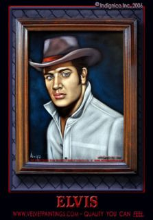 Cowboy Hat Velvet Elvis Black Velvet Painting of Elvis