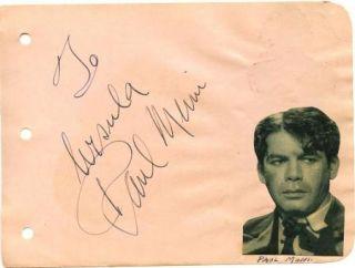 Paul Muni Vintage 1930s Original Signed Album Page Autographed