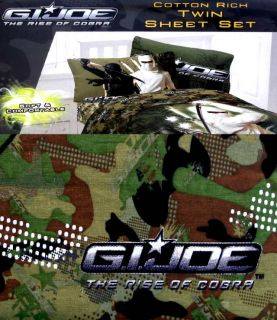 Gi Joe and The Rise of Cobra Camouflage Green 3pc Twin Sheets Bedding