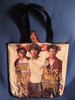 Rolling Stone The Jonas Brothers Joe Womens New Shiny Tote Hand Bag