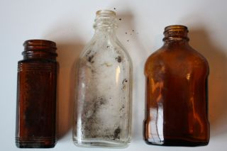 Vintage Antique Glass Medicine Bottles Brockway Abbott Amber