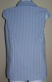 New Joanna Blue White Checkered Button Down Sleeveless Shirt Top Size