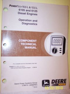 John Deere 6105 6125 Diesel Engine Technical Manual JD