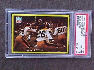 194 New York Giants Play Card PSA 8 NQ Football Joe Morrison
