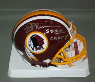 Joe Theismann Signed Autographed Washington Redskins Mini Helmet JSA