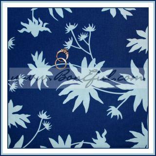 BOOAK Fabric Joel Dewberry Retro L Vtg Cotton Navy Flower Quilt Blue