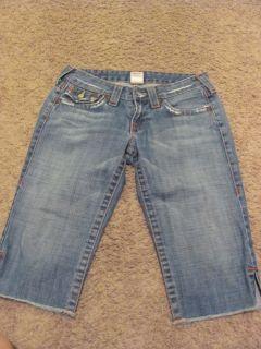 Womens Junior True Religion Joey Jeans Shorts Size 27 Flap Pocket