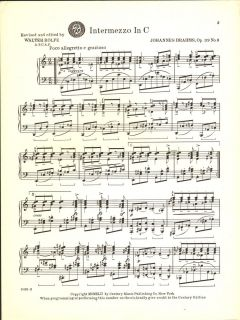 Intermezzo in C Op 119 No 3 Johannes Brahms Classical Piano Solo Sheet
