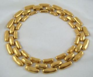 Vintage Anne Klein Chunky Gold Brass Tone Link Collar Necklace Lion