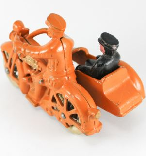 Antique Harley Davidson Cast Iron Motorcycle Toy with Side Car