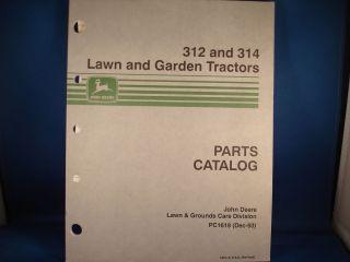 John Deere Lawn Garden Tractor Parts Book 312 314