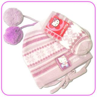 Brand New SANRIO HELLO KITTY Ski Hat & Mittens Set. It is One Size