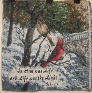 Nicky Boehme John 14 Cardinal 17 square Jacquard Woven Tapestry