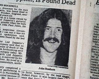 John Bonham LED Zeppelin Drummer Death 1st Report 1980 New York Times