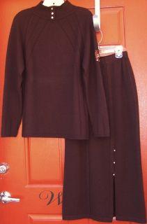 St John Brown 100 Cashmere Knit Sweater Skirt 2 PC Set Suit P