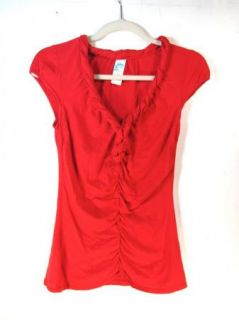 Keer Anthropologie Cute Red Twisted Trim V Neckline Ruched Shirt Sz