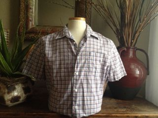 Clairborne by John Bartlett Mens Plaid Shirt Top Sz L