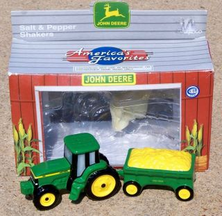 JOHN DEERE Farm Tractor Salt & Pepper Shakers Set NEW IN BOX #480320