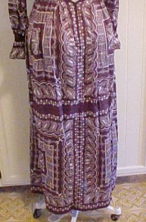 Vtg. Lord & Taylor John Meyer Oh So Hippie Bo Ho Dress Size 10 / Brown