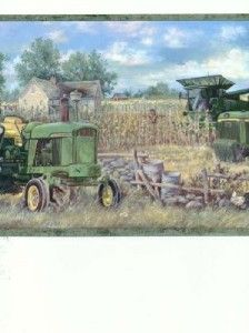 Wallpaper Border John Deere Farm Tractor Harvest Barn