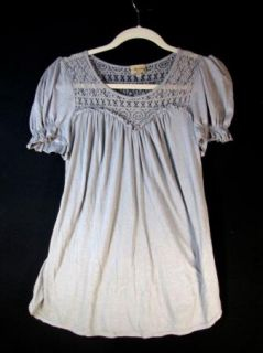 ELLA MOSS Anthropologie Gray Lace Top Super Soft Ruched Sleeve Knit Shirt sz S