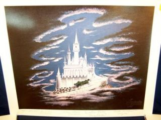 Disney Cinderella 50th Anniversary Castle litho Signed Hench Justice Woods Bliss