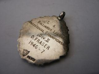 VINTAGE OLD STERLING SILVER POCKET WATCH CHAIN FOB MEDAL SNOOKER BILLIARDS 1946