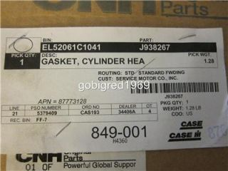 New Case International IH Tractor Cylinder Head Gasket J938267 More Parts Listed