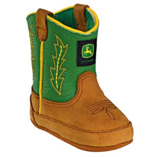 John Deere Infant Tan Green Cowboy Boots JD0186