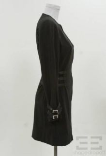 John Galliano Black Jeweled Buckle Zip Front Dress US 4