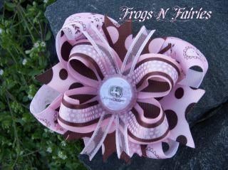 Pink Chocolate John Deere Girls Bottlecap Hairbow