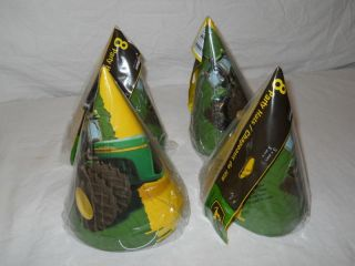 4 Packs John Deere Tractor Birthday Party Hats New