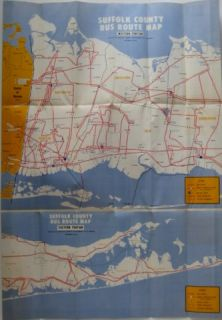 Official 1969 Suffolk County Bus Map Long Island New York Schedules Companies