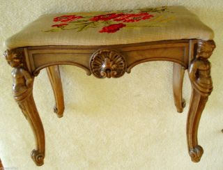 John M Smith victorian stool with needlework seat