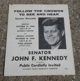 RARE JFK John Kennedy 1960 World Series New York Yankees Pirates Poster