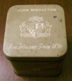 "Vintage John Middleton Regimental Mixture Tobacco Tin 2 1 4"" High by 2"" Square"