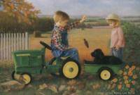 Print 15x21 Ducks Unlimited John Deere 4020 Pedal Tractor Moran Girl Boy Lab Dog |